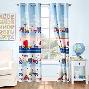 Better Home Style White Blue Red Construction Site Tractors Trucks Cement Mixers Kids/Boys/Toddler Room 2 Piece Window Curtain Treatment Drapes Set with Grommets 2018291 (Matching Curtain)
