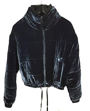 magasin d'usine 6e044 1112b Zara Veste matelassée pour Femme en Velours 9693/241 - Bleu ...