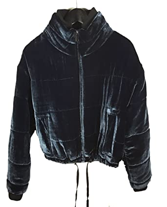 Medium Bleu Zara Femme Matelassée Veste 9693241 Velours En Pour nxw16O8qz