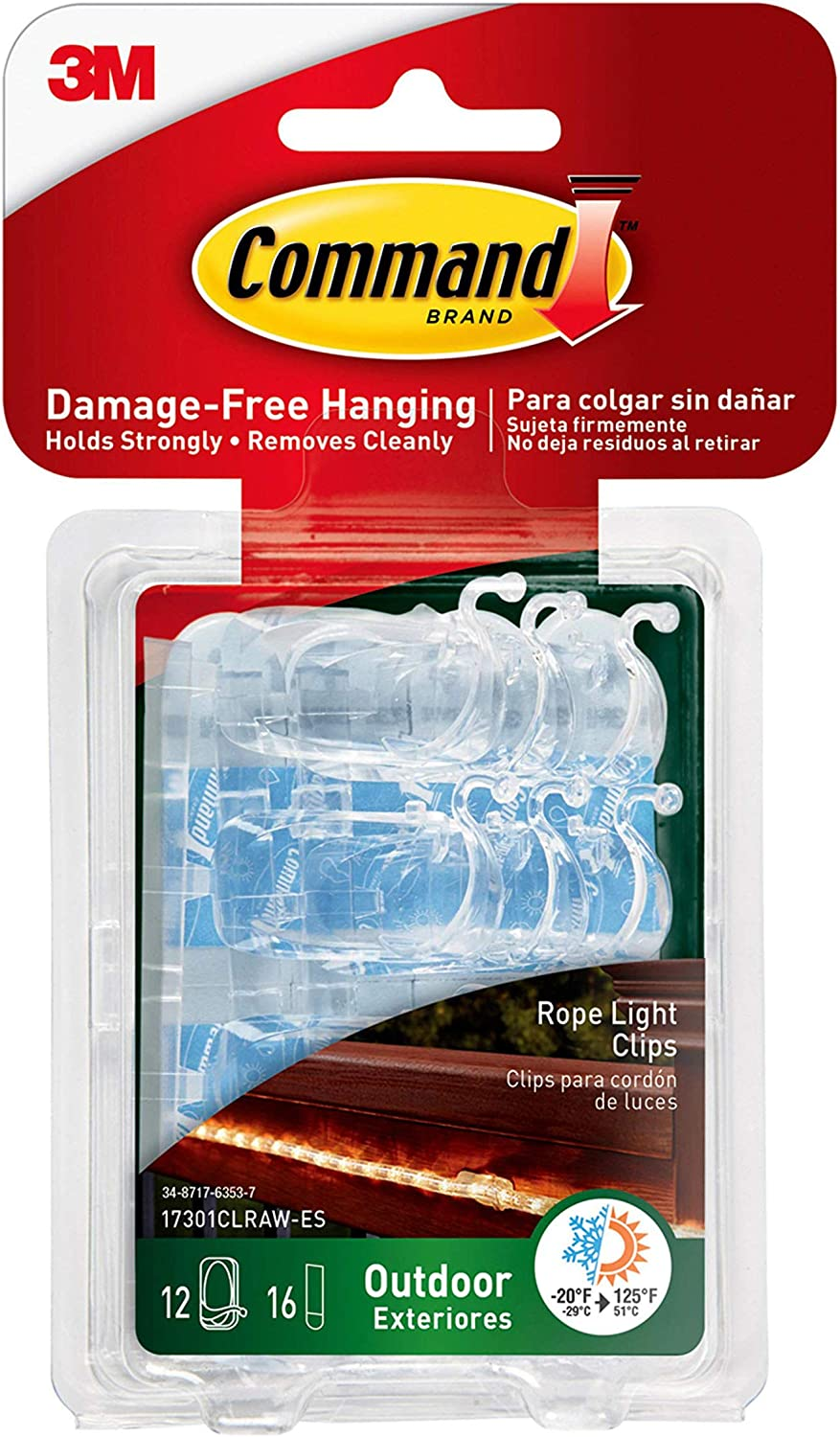 Command Outdoor Rope Light Clips, Clear (17301CLRAW-ES) - -
