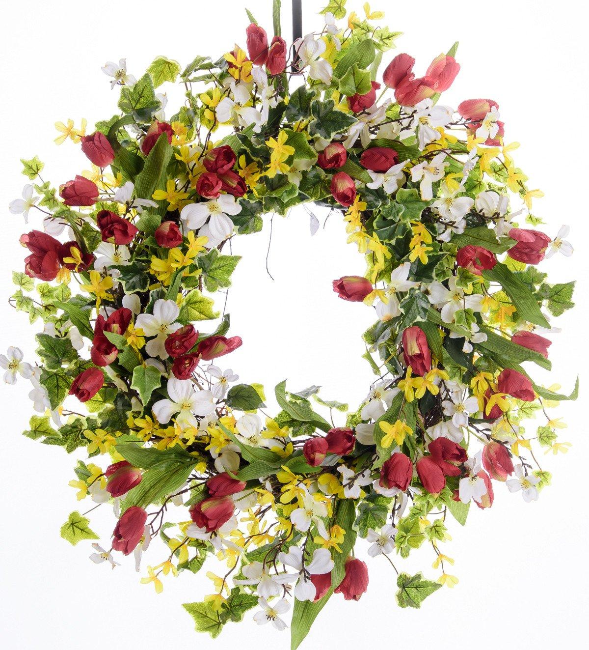 Tulip, Forsythia & Dogwood Spring Wreath (SW100)