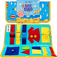 Toddler Busy Board - Montessori Toys for Toddlers Babies - Buckle Zipper Buttons - Educational Toy for 2 3 4 Year Old Boys G