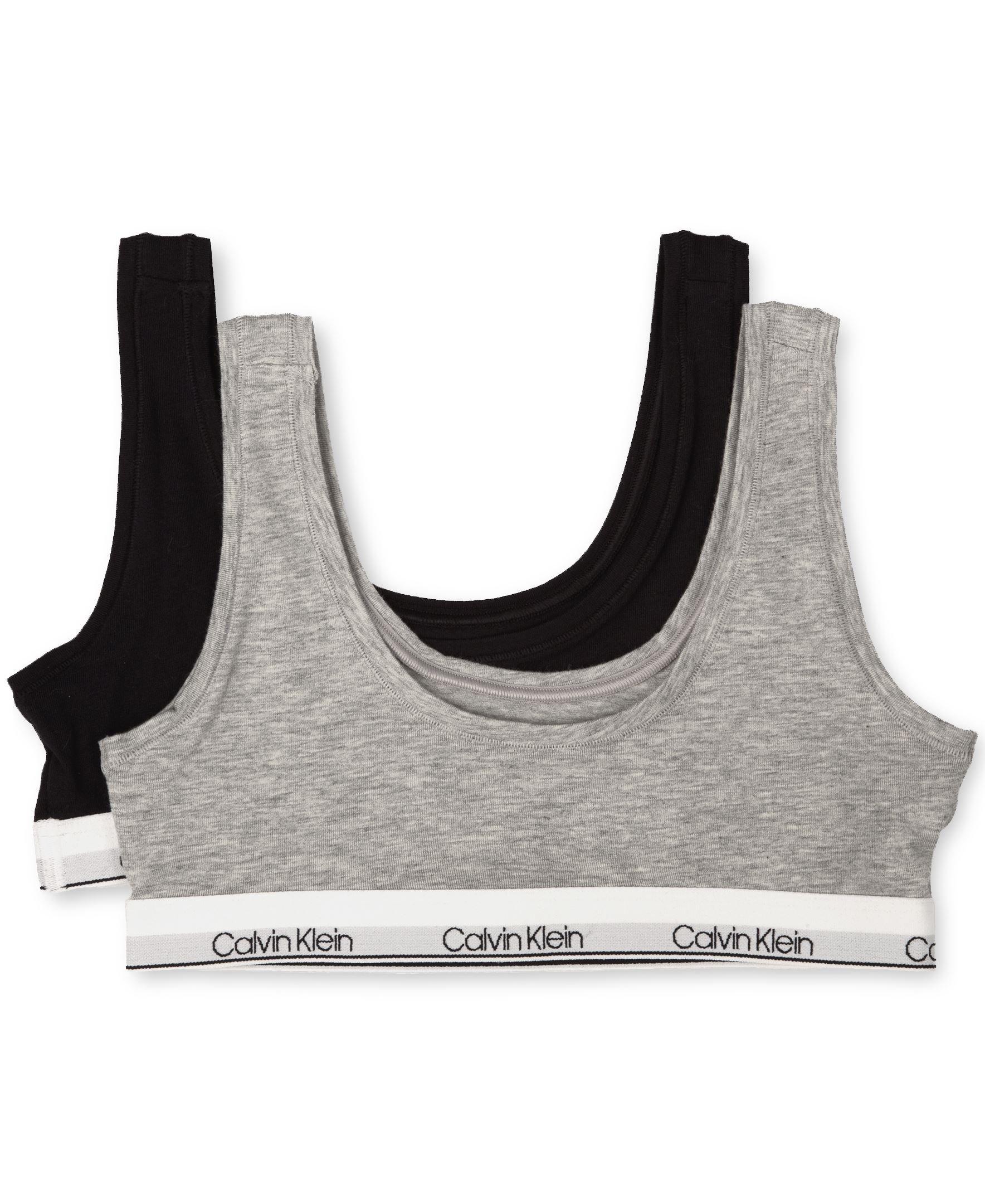 Calvin Klein Big Girls' Modern Cotton 2 Pack Classic Crop Bra, Heather Gray/Black, L (10/12)