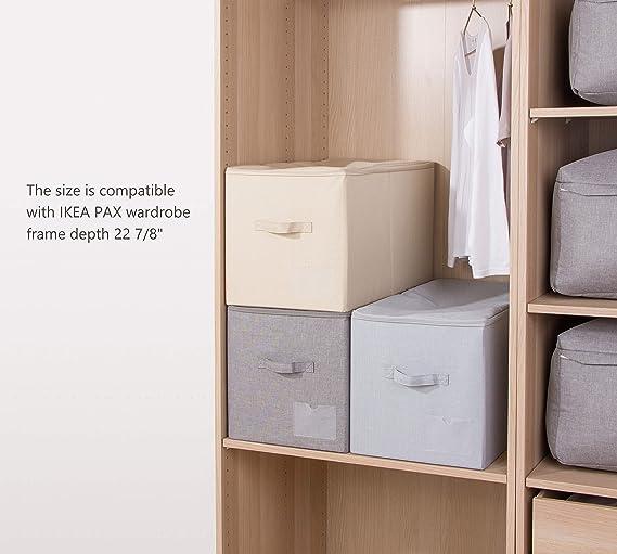 Staubdichtes Wandschrank Kleidung Aufbewahrungsboxen mit Rei/ßverschluss Breathable Fabric /& Collapsible Design f/ür Saisonkleidung Organisation 2er Beige