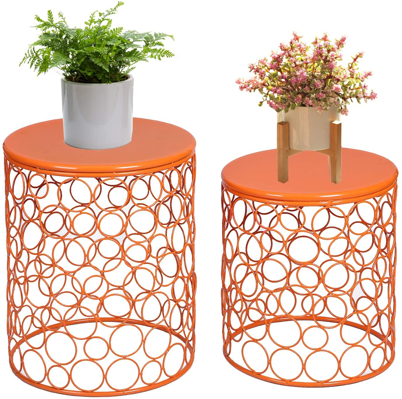 Adeco Home Garden Accents Circle Wired Round Iron Metal Nesting Stool Side End Table Plant Stand, Bubble Pattern, Orange Red, Set of Two