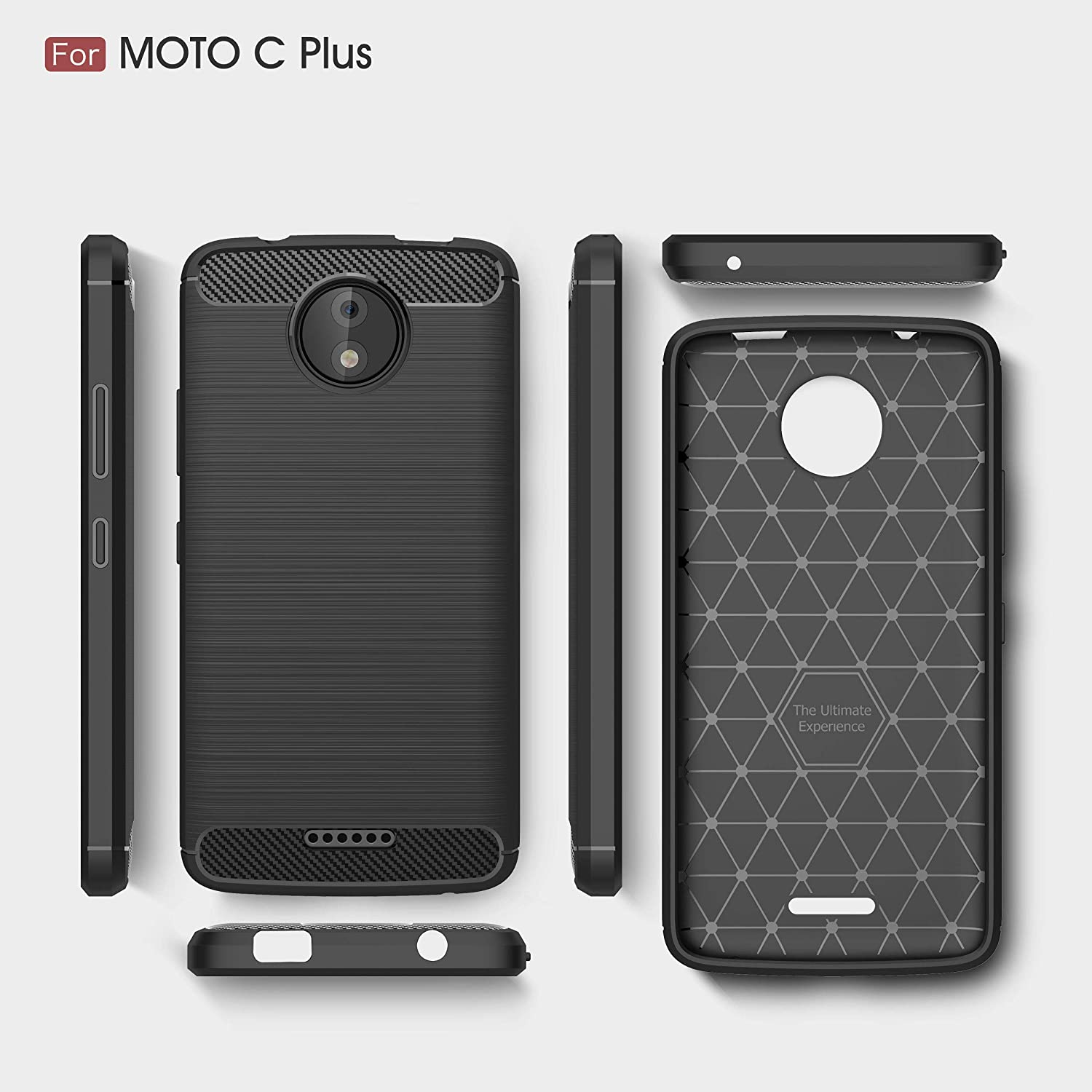 Amazon.com: Motorola Moto C Plus Case, SsHhUu Carbon Fiber ...