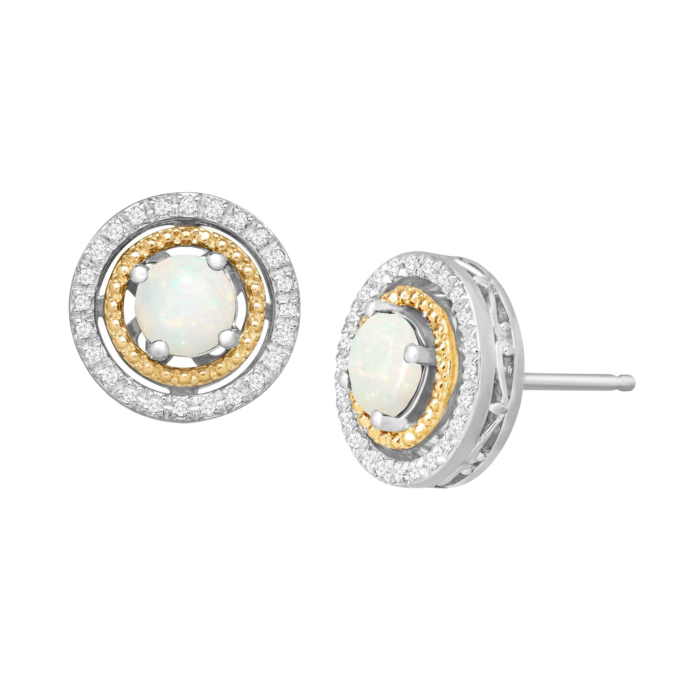 5/8 ct Natural Opal & 1/8 ct Diamond Double Halo Stud Earrings in Sterling Silver & 14K Gold