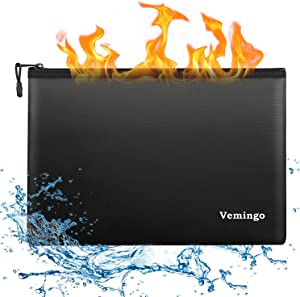 Fireproof Document Bags, Vemingo Water Resistant Fire Safe Storage Pouch with Upgraded Zipper for Money Cash, A4 Document Files, Passport, Tablet etc.