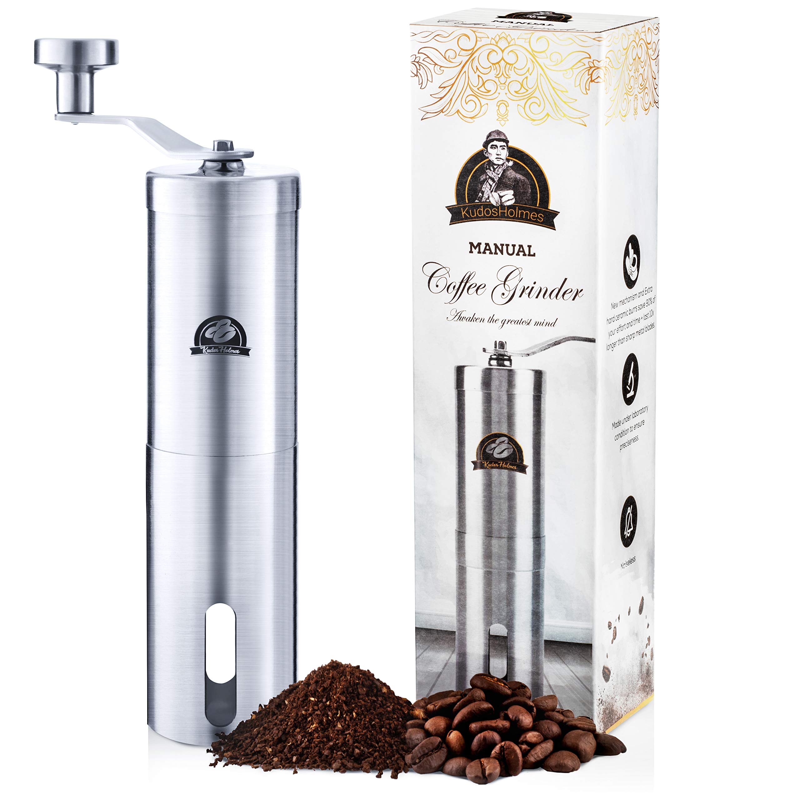 Manual Coffee Grinder by KudosHolmes - Portable Stainless Steel Design with 25 Adjustable Grind Selector Settings, Conical Ceramic Burr Mill with Quiet Grinding - Great for Camping, Travel, Picnics by KudosHolmes (Image #1)