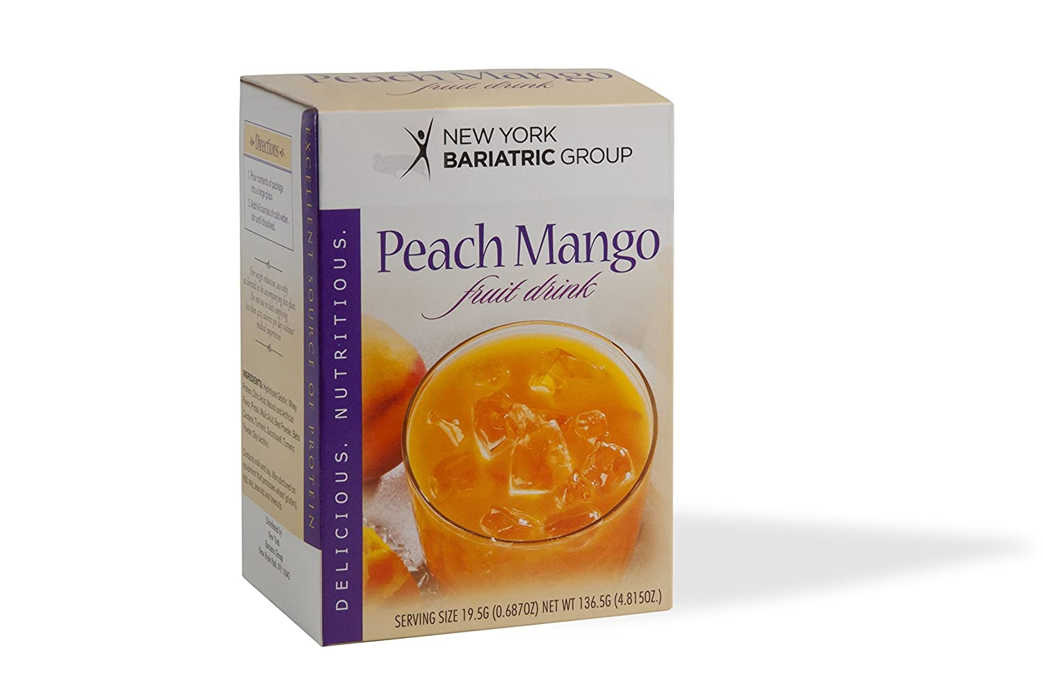 New York Bariatric Group Protein Fruit Drinks - Peach Mango - 15g Protein - Low Carb Diet Drink - Low Calorie- Fat Free - Sugar Free