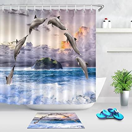 LB Tropical Fish Shower CurtainOcean Theme Bathroom DecorMildew Resistant Waterproof Polyester Fabric