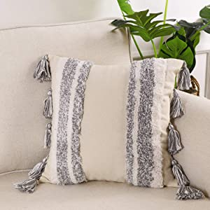 Ailsan Boho Tufted Decorative Throw Pillow Cover 18x18 Inch with Tassels Woven Decorative Pillowcase Super Soft Tribal Square Pillow Sham Cushion Case for Sofa Couch Bed Car Living Room