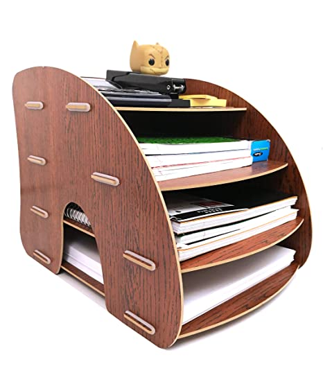 Organize Fun Curved 4-Tier Desk Organizer, Document Tray, File Rack, Paper  Holder  A Desktop Essential for Home, Office, School, College Dorm and