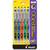 Pilot Precise P-700 Gel Ink Rolling Ball Pens, Fine Point, 5-Pack, Assorted Colors, Black/Blue/Red/Green/Purple Inks (38617)