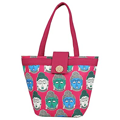 Aadhunik Libaas Lord Buddha Printed Stylish Cotton Jute Tote Bags, Shopping Bags, Shoulder Bag for Women/Girls