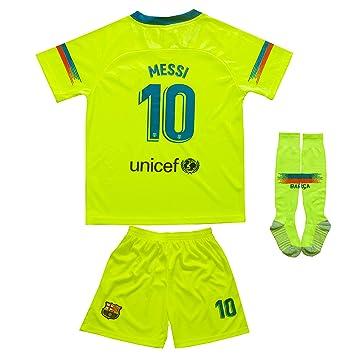 new arrival ba8f1 5cdb2 MFG 2018/2019 Barcelona #10 Messi Auswärts Kinder Fußball Trikot Hose und  Socken Kindergrößen