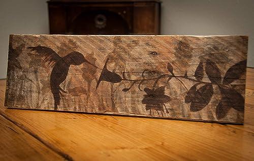 20 x 7 Indoor Outdoor Hummingbird painting on Pallet wood – Gift for gardener – Outdoor hummingbird wall art