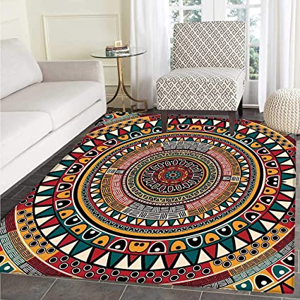 Tribal Area Rug Carpet African Folkloric Tribe Round Pattern With Ethnic Colors Aztec Artwork Floor Mat Rug Indoor Front Door Kitchen And Living Room Bedroom Mats Rubber Carpe Non Slip Amazon Co Uk Kitchen Home