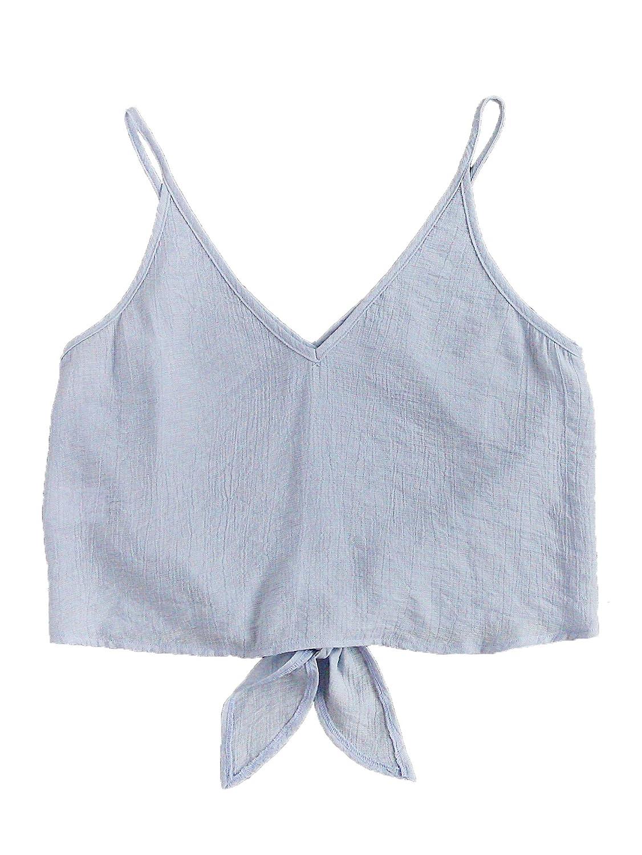 8fa55b2f0e298 MakeMeChic Women s Casual V Neck Button Seft Tie Front Crop Cami Tops  Camisole  Amazon.com.au  Fashion