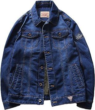 デニムジャケット メンズクラシックな外観複数のポケット レトロレギュラーフィットトラック運転手ワークコート ユーズド加工の刺繡ラベルデニムジャケット