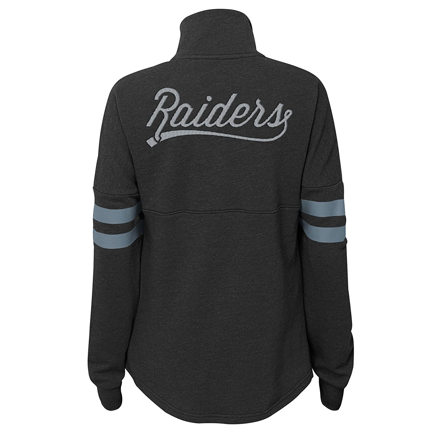 0-1 Outerstuff NFL NFL Oakland Raiders Juniors Classic Throw Varsity 1//4 Snap Pullover Top Black Juniors X-Small