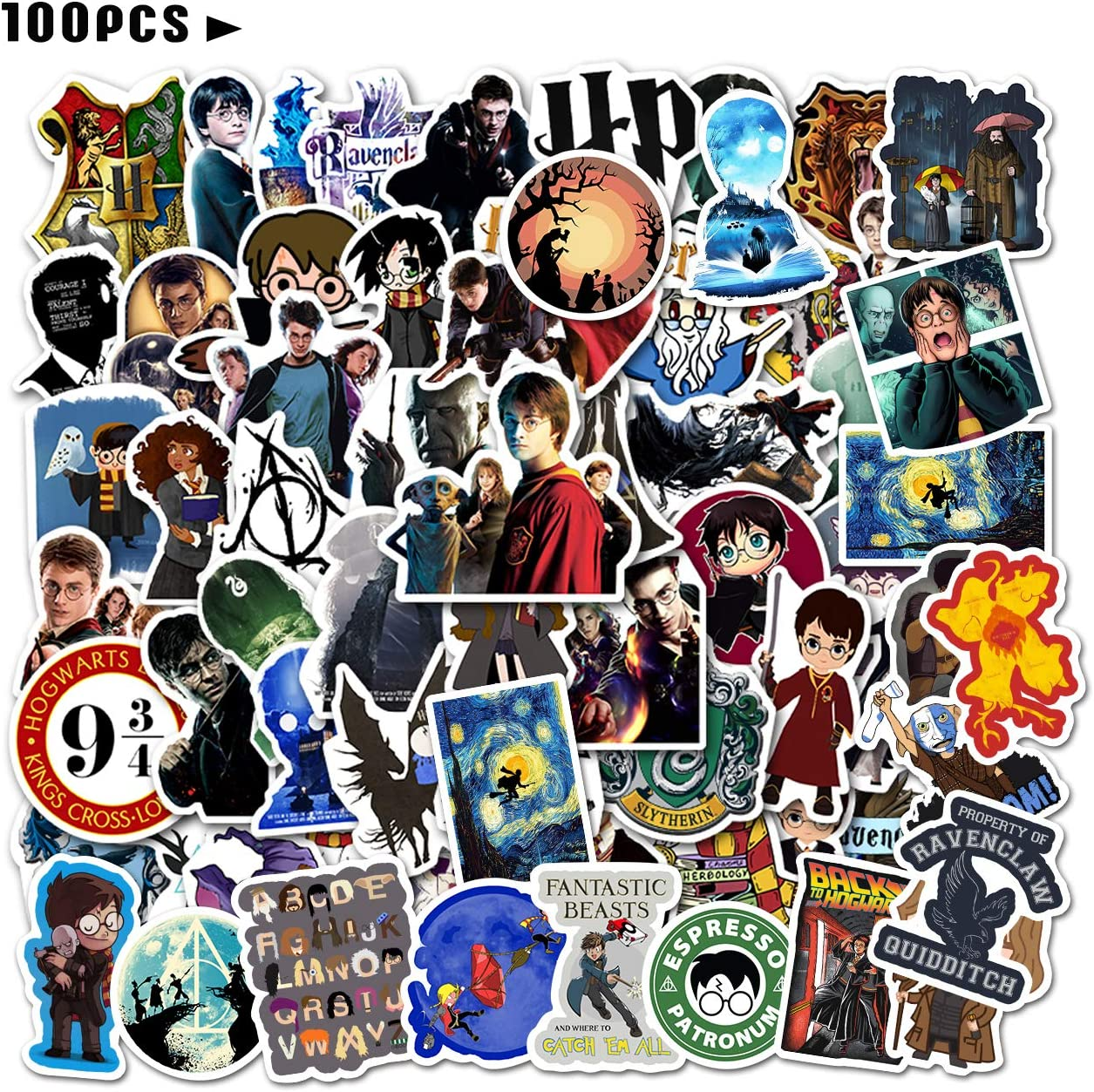 100PCS HARR/_y Potter Stickers and Decals Laptop Waterproof Vinyl Stickers Water Bottle House Skateboard Stickers for Kids Teens Boys Adults