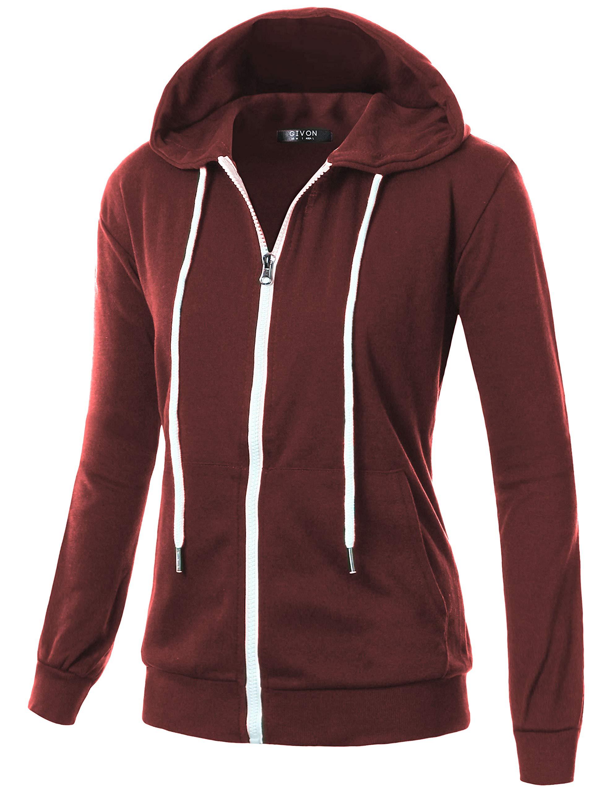 GIVON Womens Comfortable Long Sleeve Lightweight Zip-up Hoodie with Kanga Pocket/DCF200-BURGUNDY-S