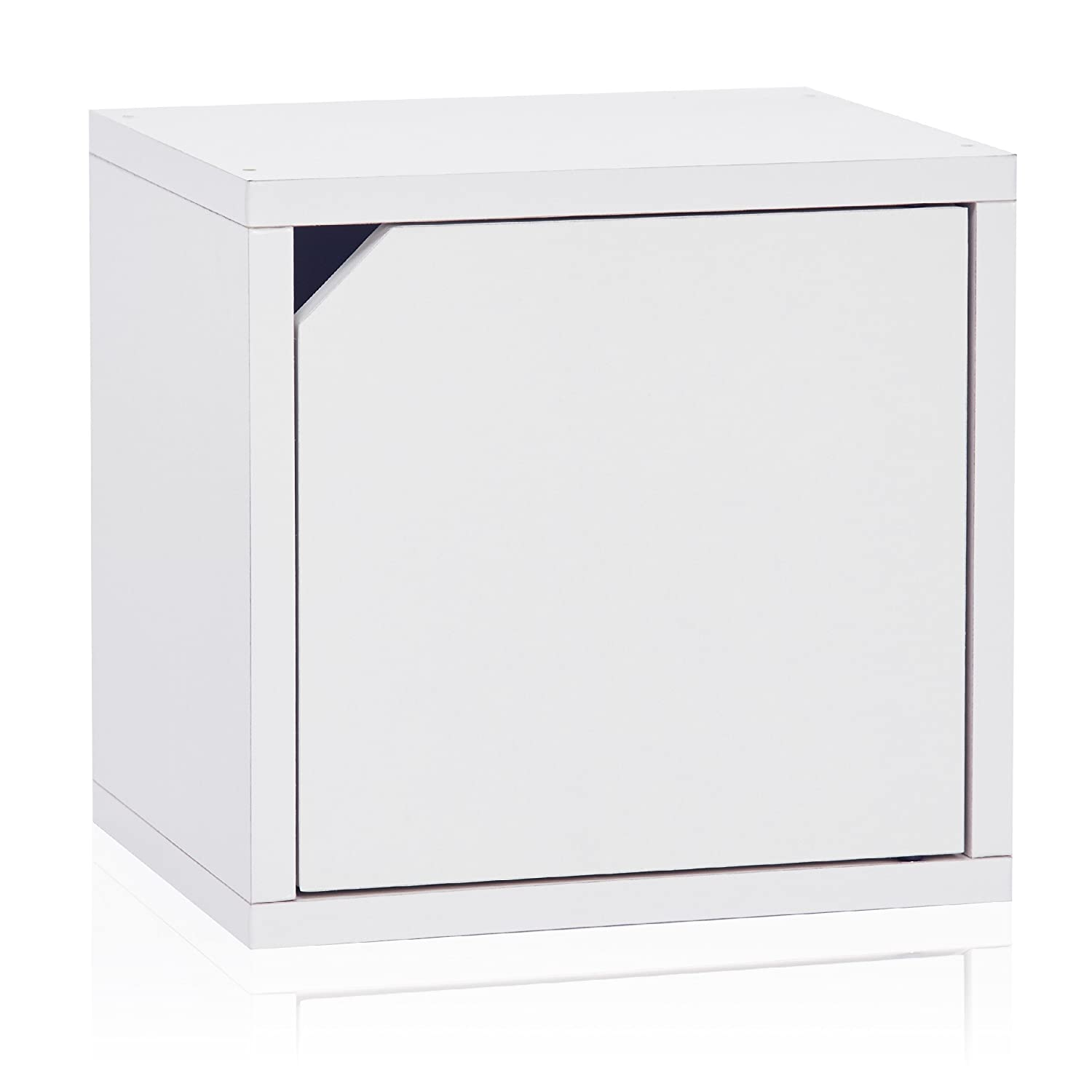 Way Basics Eco Stackable Connect Storage Cube Cubby Organizer with Door, White (Tool-Free Assembly and Uniquely Crafted from Sustainable Non Toxic zBoard Paperboard)