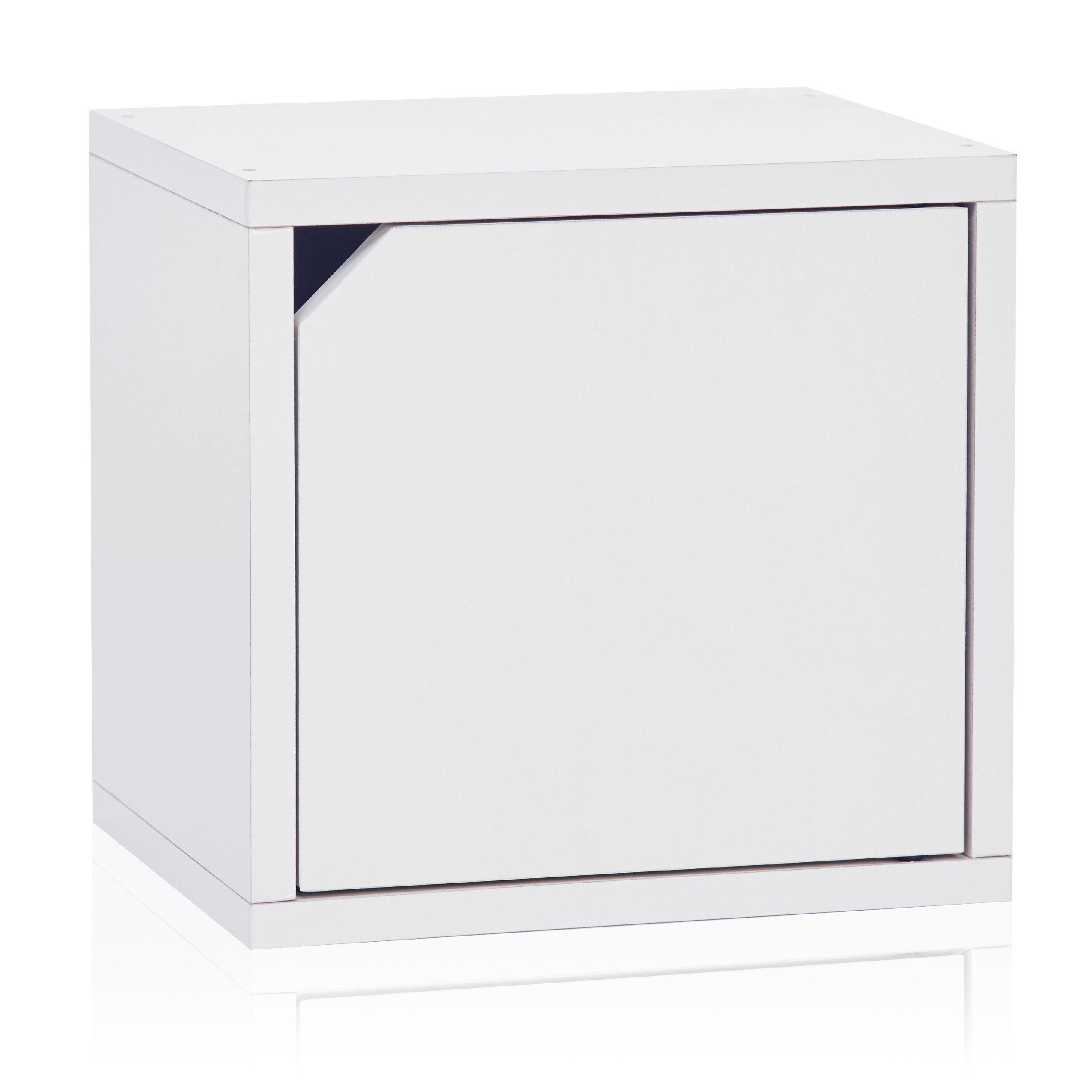Way Basics Eco Stackable Connect Storage Cube with Door, Natural White (uniquely crafted from zBoard paperboard)
