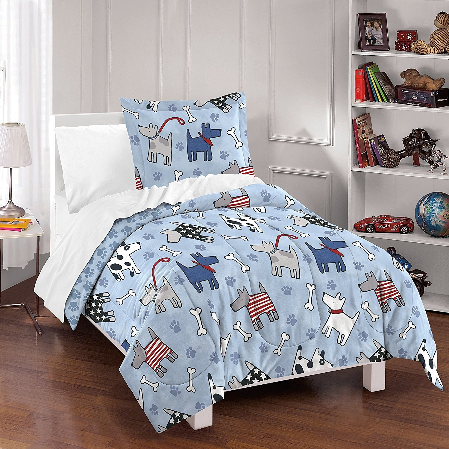 3pc Kids White Red Blue Puppy Dog Comforter Full Queen Set, Cotton, Dog Themed Bedding Puppies Doggy Bones Playful Cute Dressed Up Pooches Hound Adorable Paw Prints Black