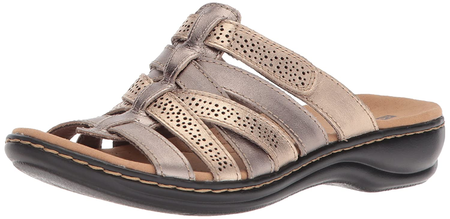 CLARKS Womens leisa fields Open Toe Casual Slippers B072KNRHBG 6.5 B(M) US|Metallic/Multi Leather Metallic/Multi Leather 6.5 B(M) US