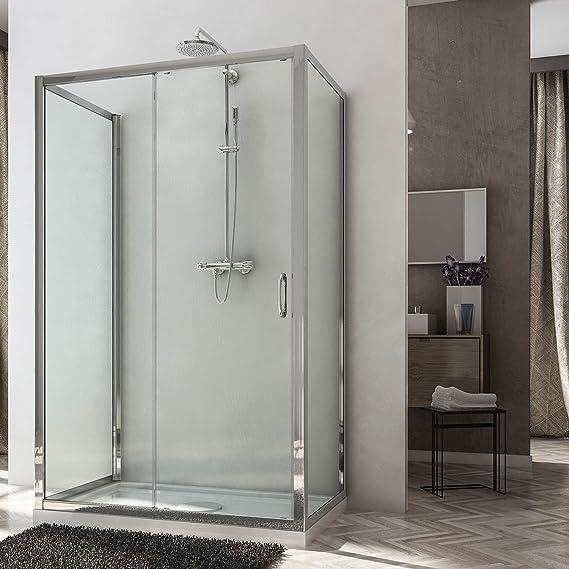 Box ducha dos puertas fijas y puerta deslizante 3 lados Altura 185 o 198 cm disponibles con cristal transparente o mate: Amazon.es: Bricolaje y herramientas