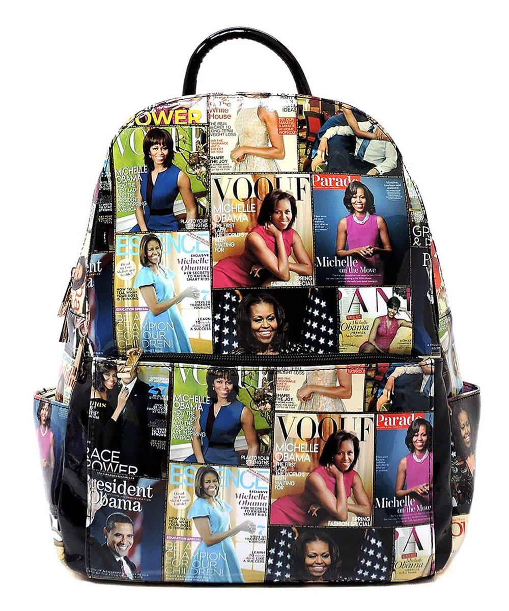 Glossy Magazine Cover Collage Motorcycle Jacket Fringe Backpack Michelle Obama Handbag (8-Multi/Black) by Elphis
