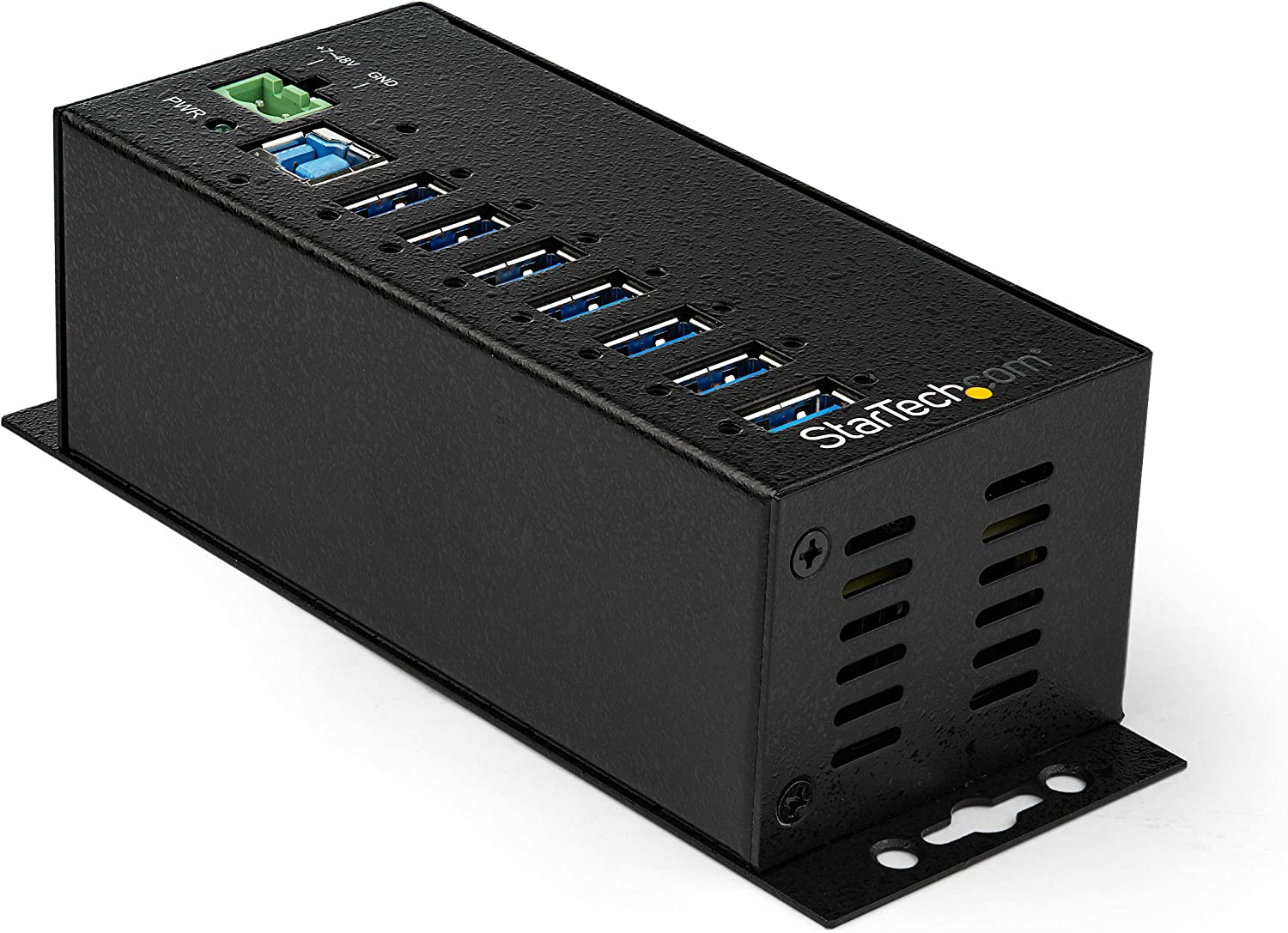 StarTech.com 7 Port USB Hub with Power Adapter - Surge Protection - Metal Industrial USB 3.0 Data Transfer Hub - Din Rail, Wall or Desk Mountable - High Speed USB 3.1 Gen 1 5Gbps Hub (HB30A7AME)