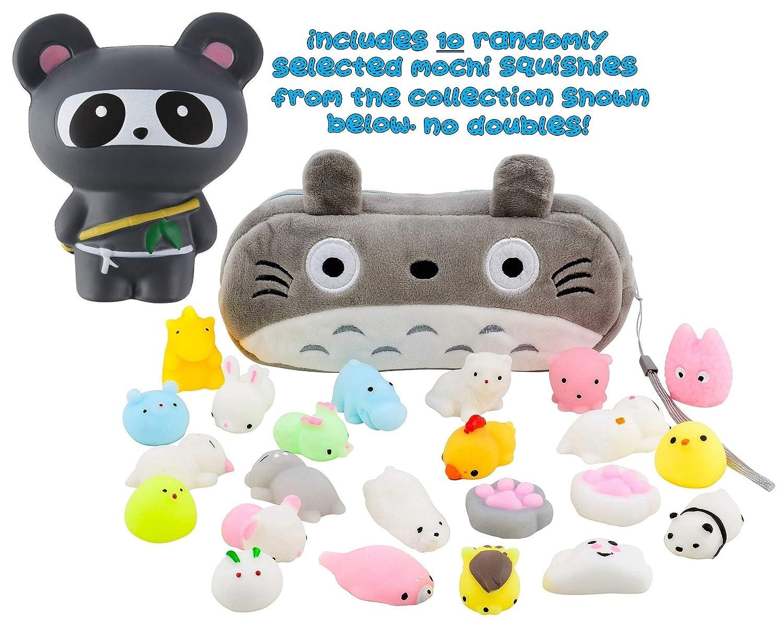 Mochi Squishy Toys 10-Pcs + FREE Kawaii Cat Bag + Jumbo Panda Ninja Squishy| Random Package of Mini Variety Animals Squishies Case| Cute Box of Animal ...