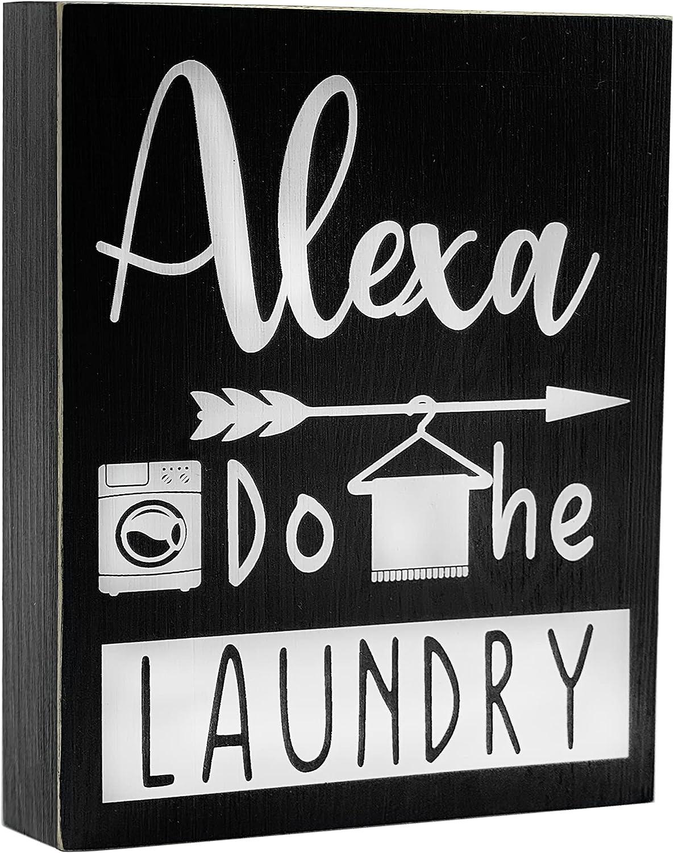 Cocomong Funny Signs Alexa Do The Laundry Decor Box Signs-Small Farmhouse Laundry Room Shelf Sitter 6x8 Wooden Wall Decor -Fun Novelty Humor Farmhouse Bathroom Laundry Room Decoration for Home