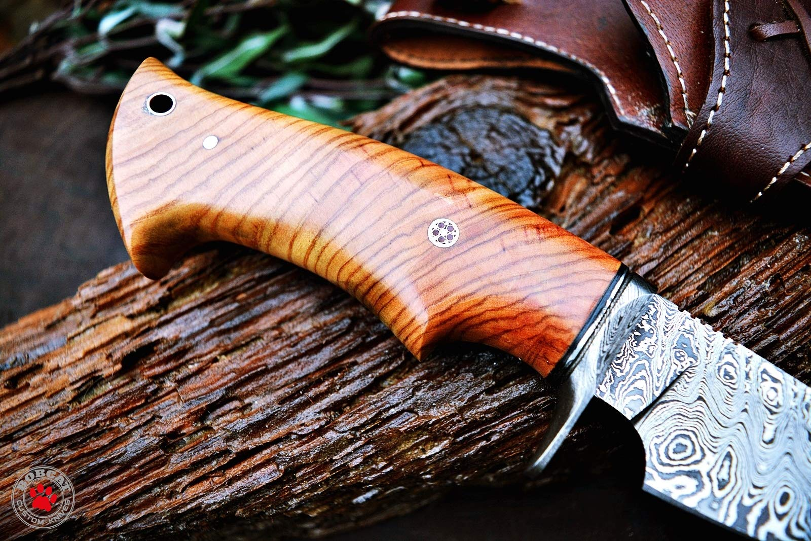 Custom Handmade Hunting Knife Bowie Knife Damascus Steel Survival Knife EDC 10'' Overall Olive Wood with Sheath by Bobcat Knives (Image #4)