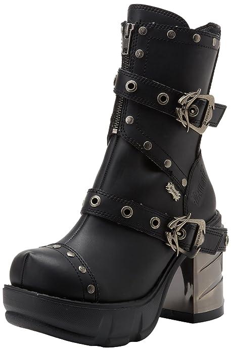 Demonia Damen Halbschaft Stiefel schwarz Leather   Viele