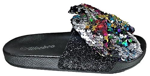 647e17c1f6590 Weboo Kelly-01 Open Toe Slides Bow Sequin Glitter Sparkle Flip Flops  Sandals Multi Color