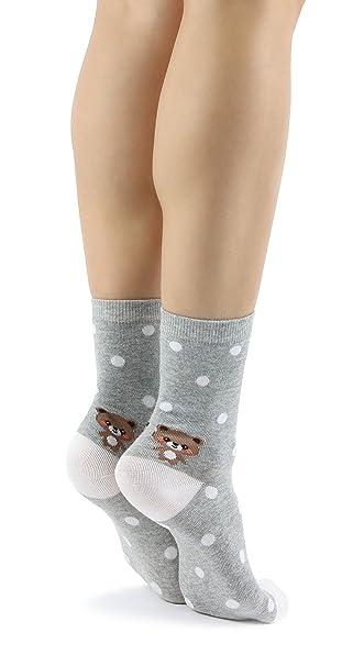 Mixmi Boutique Calcetines de tobillo gris claro con lunares blancos, patrón de oso de peluche