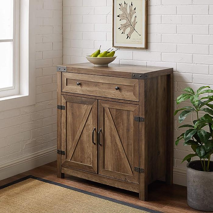 Walker Edison Farmhouse Barn Door Wood Accent Cabinet Entryway Bar Storage Table, 30 Inch, Reclaimed Barnwood