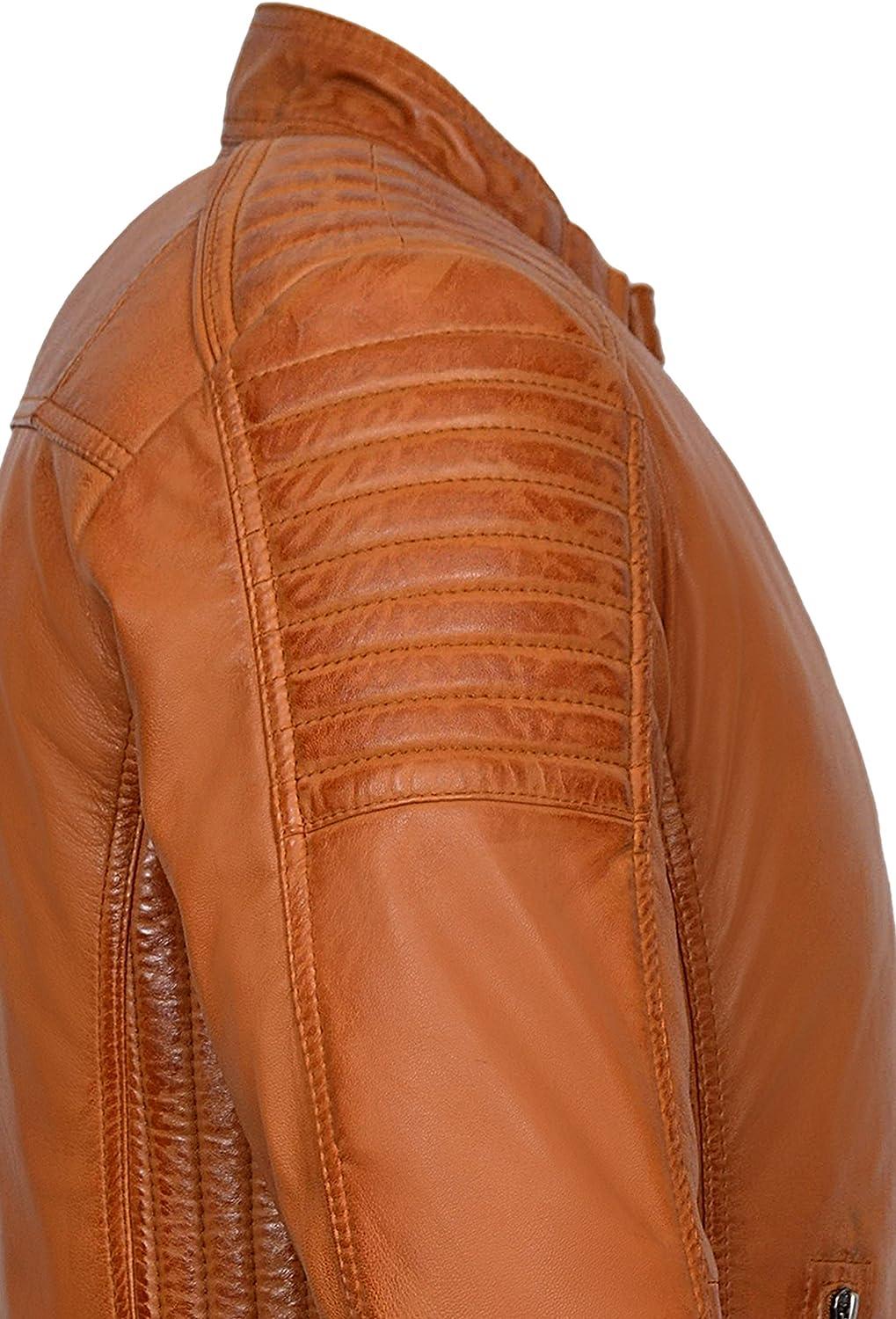Mens Cognac Cool Retro Biker Style Soft Padded Sheep Napa Leather Jacket 1829-B