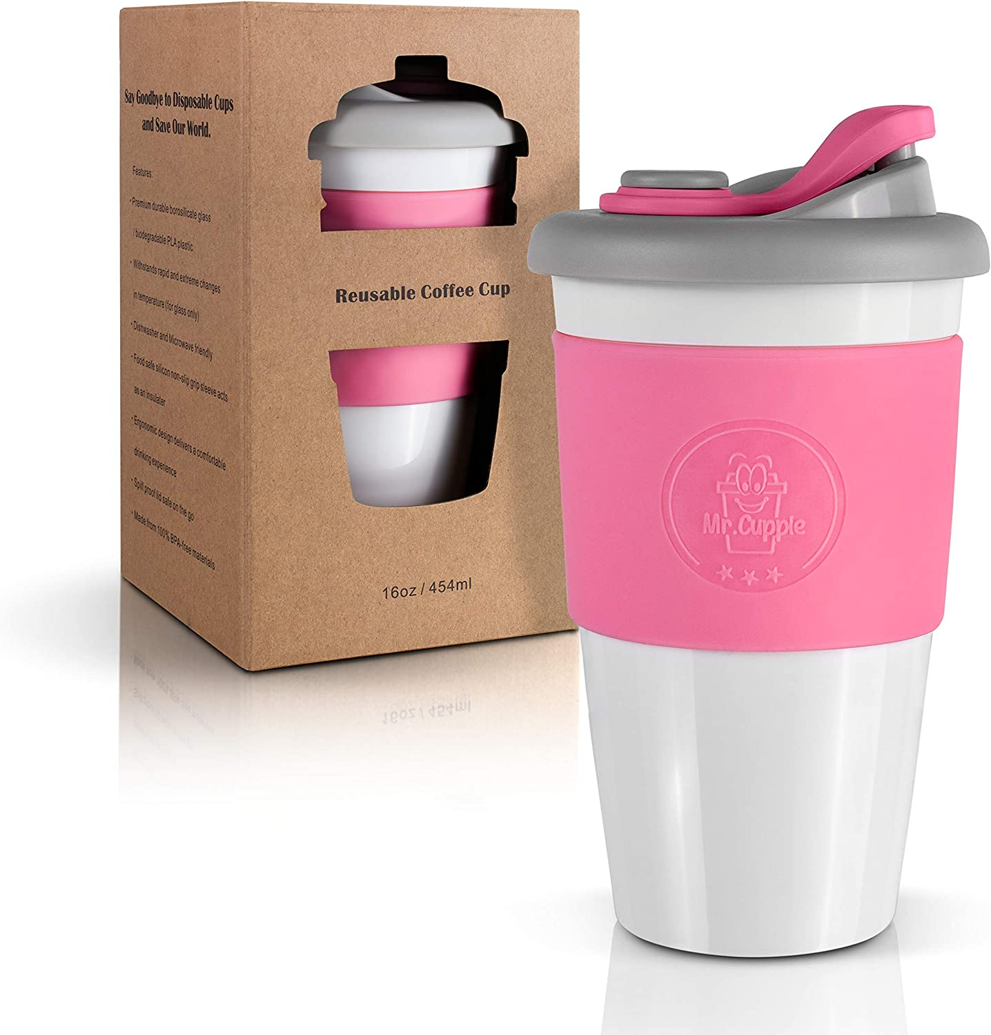 Mr. Cuppie Reusable Coffee Cup with Lid, Coffee To Go Travel