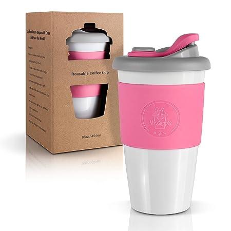 Mr. Cuppie taza de café reutilizable con tapa, taza de café con ...