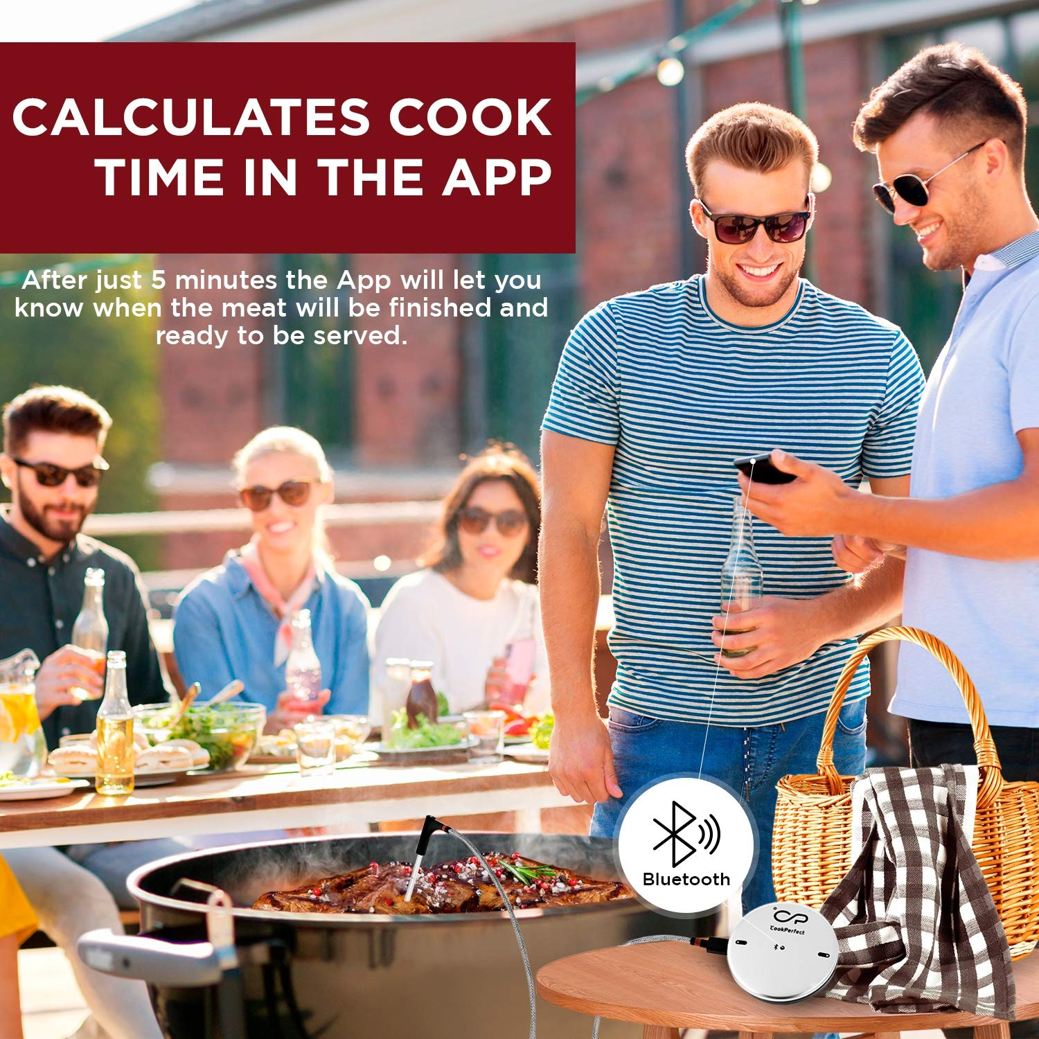 CookPerfect Wireless Meat Thermometer with 400ft Bluetooth Range | Automatic Core and Air Temperature Readings | for BBQ, Oven and Grill Cooking (1 Probe Included) by CookPerfect (Image #6)
