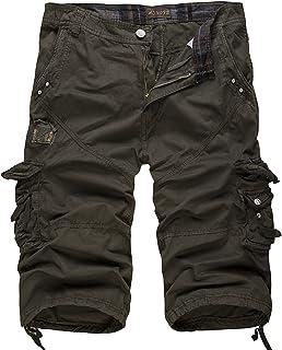 Elonglin Mens Cargo Shorts Cropped Outdoor Vintage Bermuda Shorts No Belt EL.AW-038