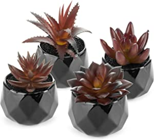 Artificial Succulents – Dark Red Plants - Shiny Black Ceramic Pots for Home Decor - Set of 4 - 2 in/5cm Mini Planters - Perfect for Indoors and Outdoors - Living Room, Kitchen, Office, Desk, Bedroom