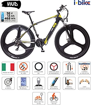 i-Bike Mountain Mud Unisex Adulto, Color Negro y Blanco Amarillo ...