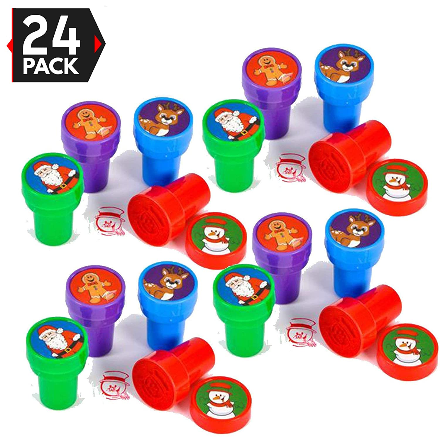 24 Christmas Assorted Bright Colored Plastic Stamps - Self Ink Christmas Stampers - Fun Gift  Party Favors  Party Toys  Goody Bag Favors