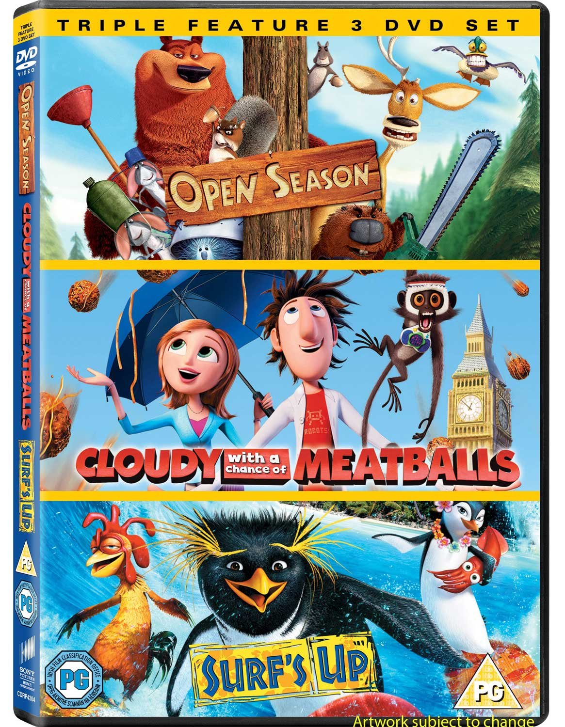 Amazon Com Cloudy With A Chance Of Meatballs Open Season Surf S Up Dvd 2010 Movies Tv